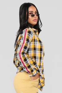 Lounge Affair One Pocket Plaid Top - Mustard