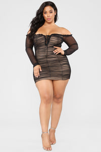 Maura Mesh Dress - Black Angle 6