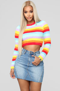 Girls Just Wanna Have Fun Cropped Sweater - MultiColor