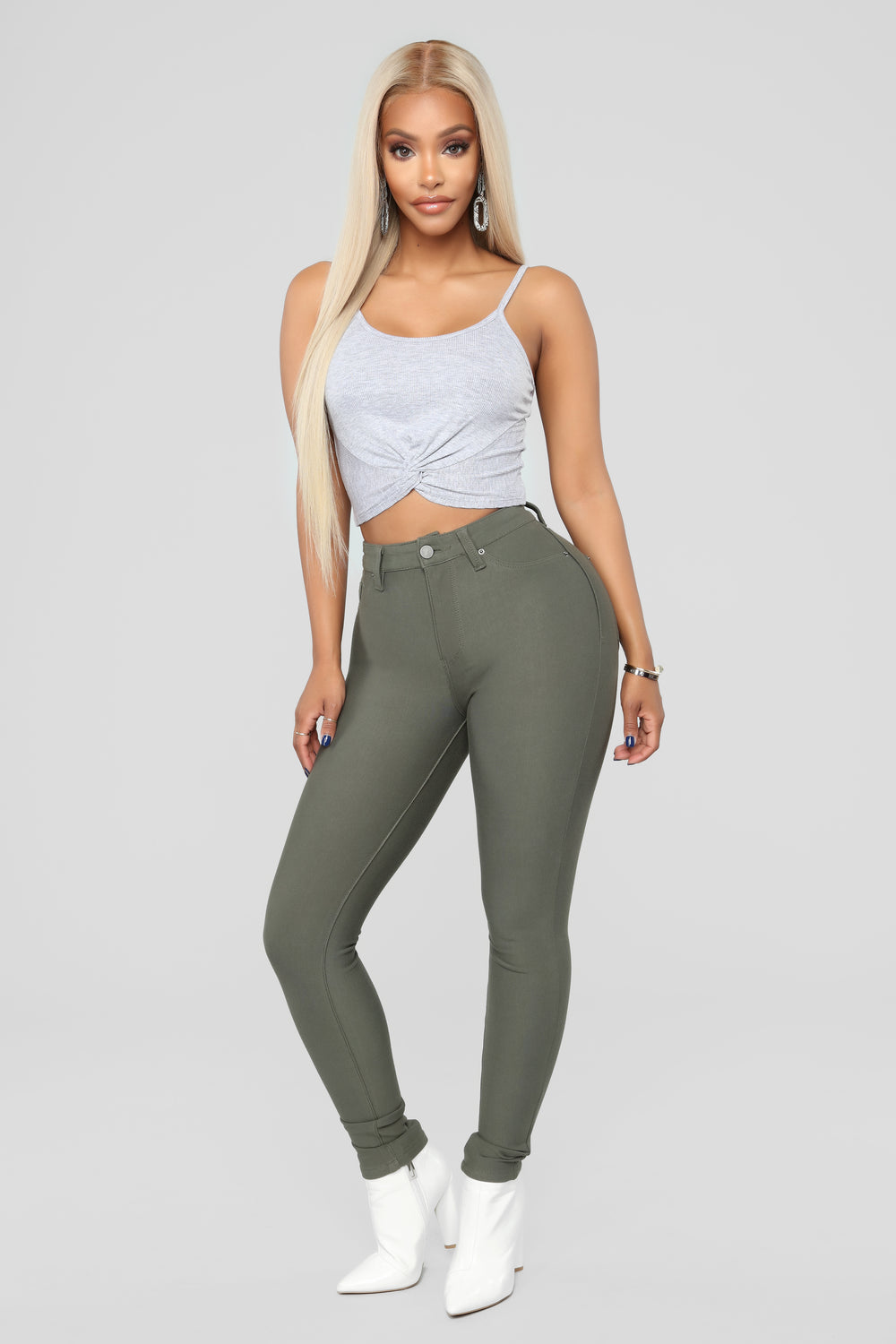 Callie Crop Top - Heather Grey