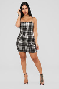 Total Betty Plaid Dress - Black/Gold Angle 1