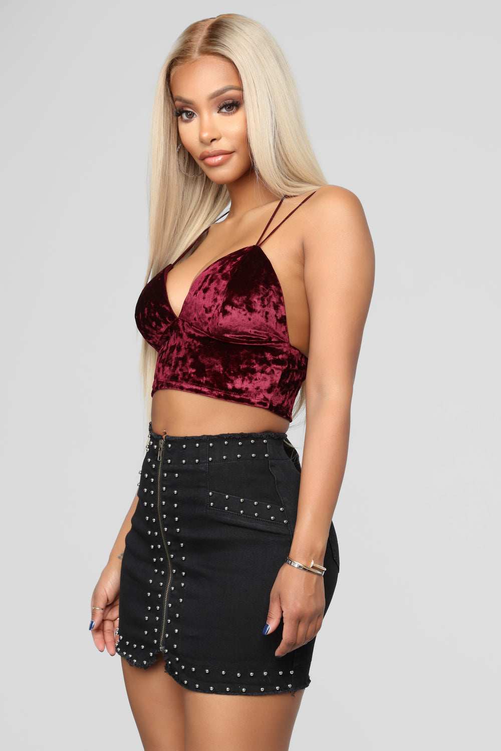 Crushing Hearts Crop Top - Merlot