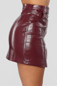 I Love Rock and Roll Faux Leather Skirt - Burgundy