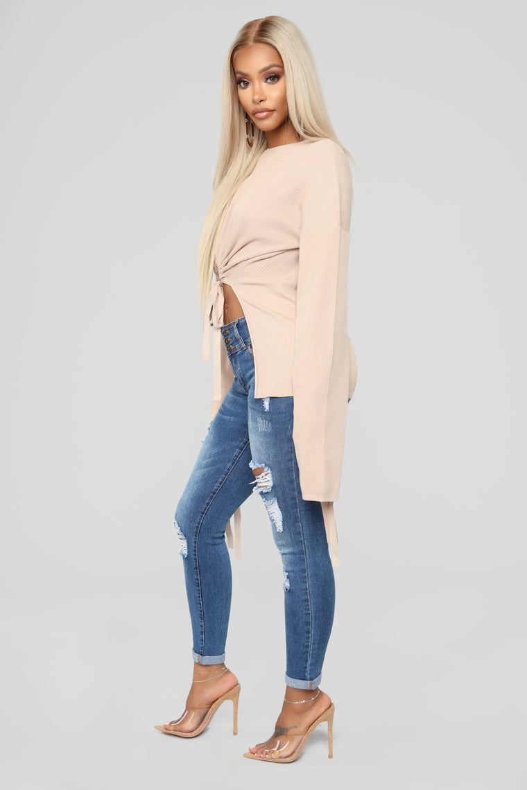 Fashion Stole My Soul Sweater - Nude