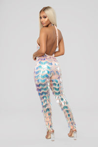 Shake It Sequin Jumpsuit - Pink