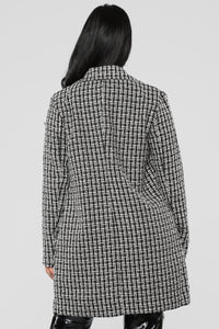 Tweed Pearl Night Coat - Black/White