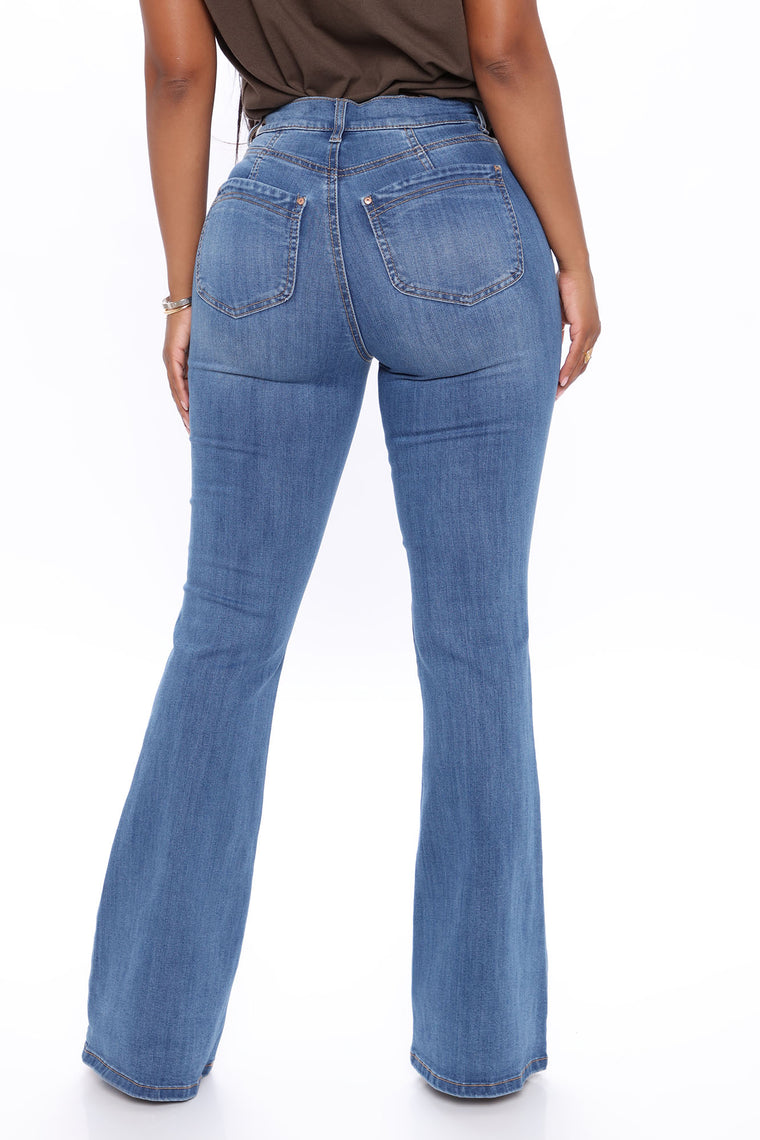 Alyson Booty Lifting Flare Jeans - Medium Blue Wash