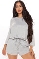 Coffee And Croissants 2 Piece Short Set - Heather Grey