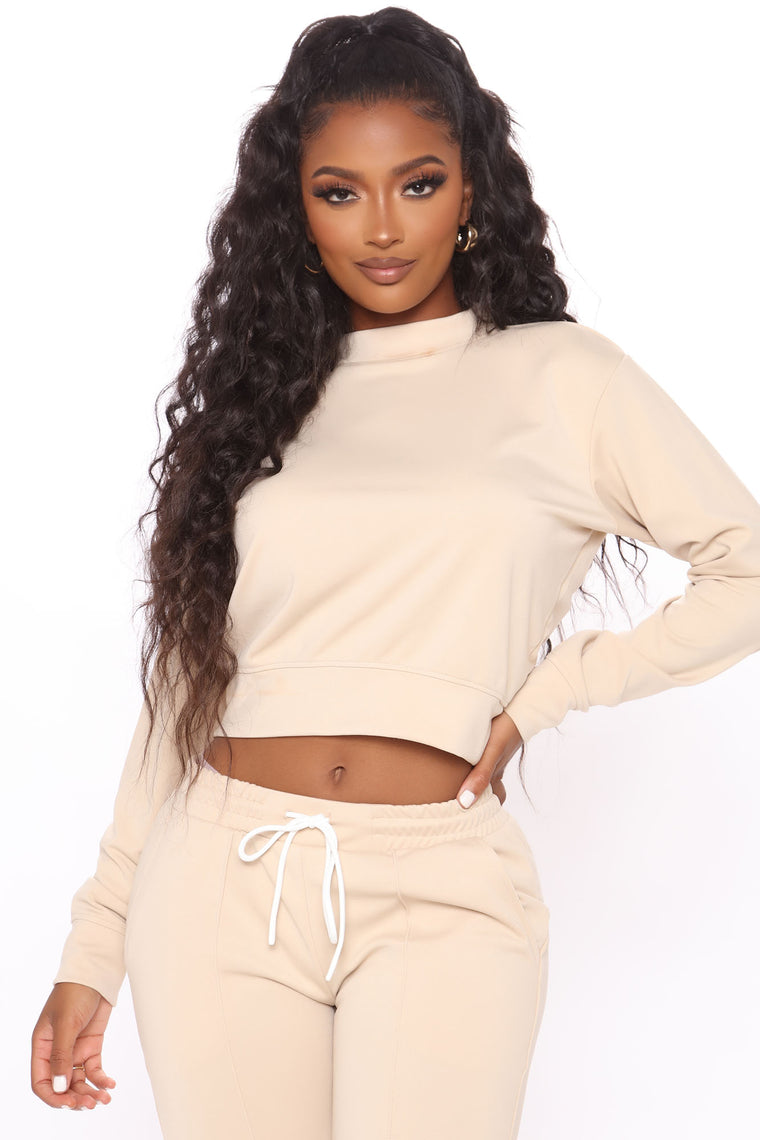 She's Taking Over Pullover And Pant Set - Tan
