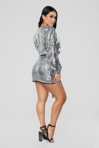 Where's The Party At Sequin Dress - Silver