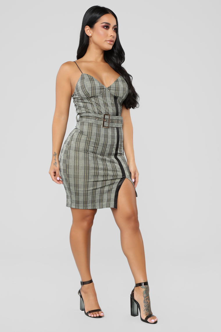 Living Up To My Standards Plaid Dress - Grey Plaid