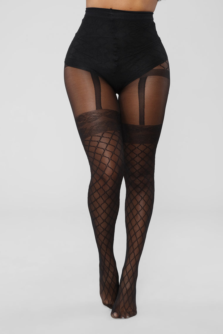 Hazel Fishnets Garter Tights - Black