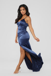 Into The Night Satin Dress - Navy
