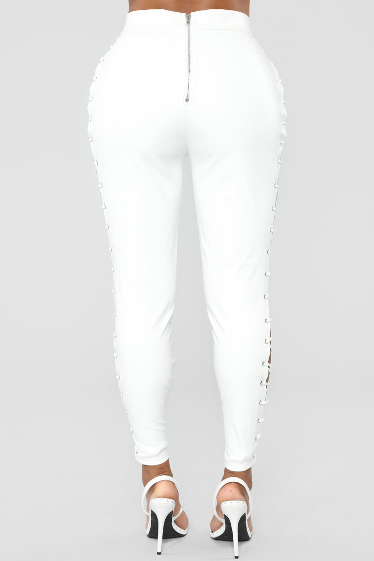 Make You Go Crazy Lace Up Pants - White