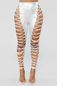 Shine Up The Night Lace Up Pants - Silver