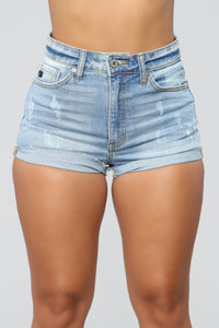 Ride Around Town With Me Denim Shorts - Light Blue Wash