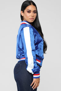 Steppin' Satin Contrast Bomber - Royal