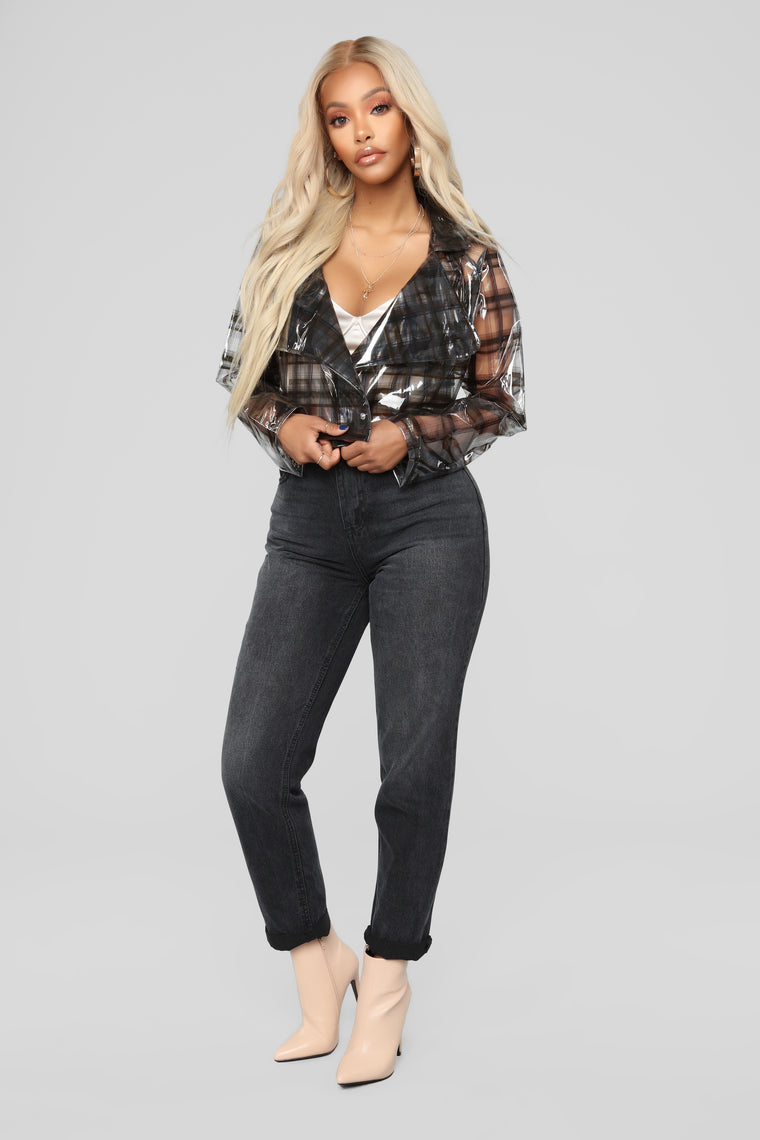 Transparent Plaid Cropped Moto Jacket - Black/combo