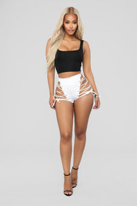 Wild One Lace Up Shorts - White