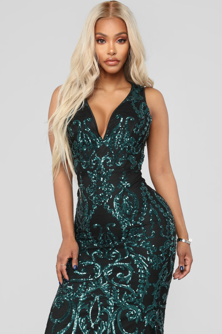 Dara Sequin Dress - Jade/Black