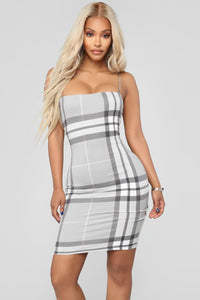 Plaid It Right Dress Do Not Sale - Grey
