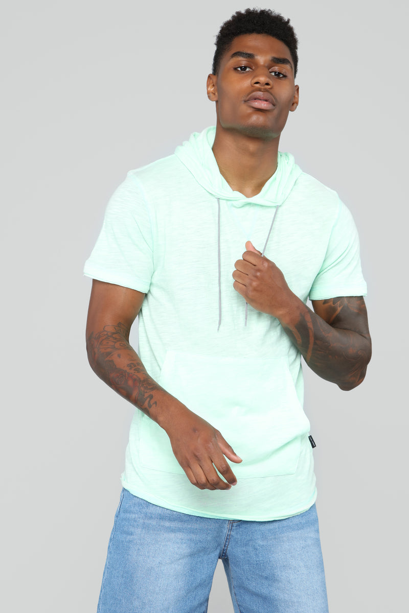 Jimmy Short Sleeve Pull-Over Hoodie - Teal
