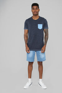 Randy Contrast Short Sleeve Tee - Blue Angle 2