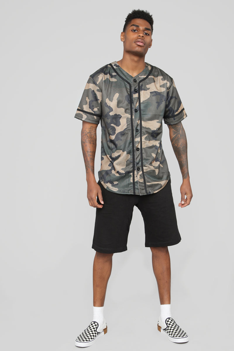 Devin Camo Baseball Jersey - Brown/combo