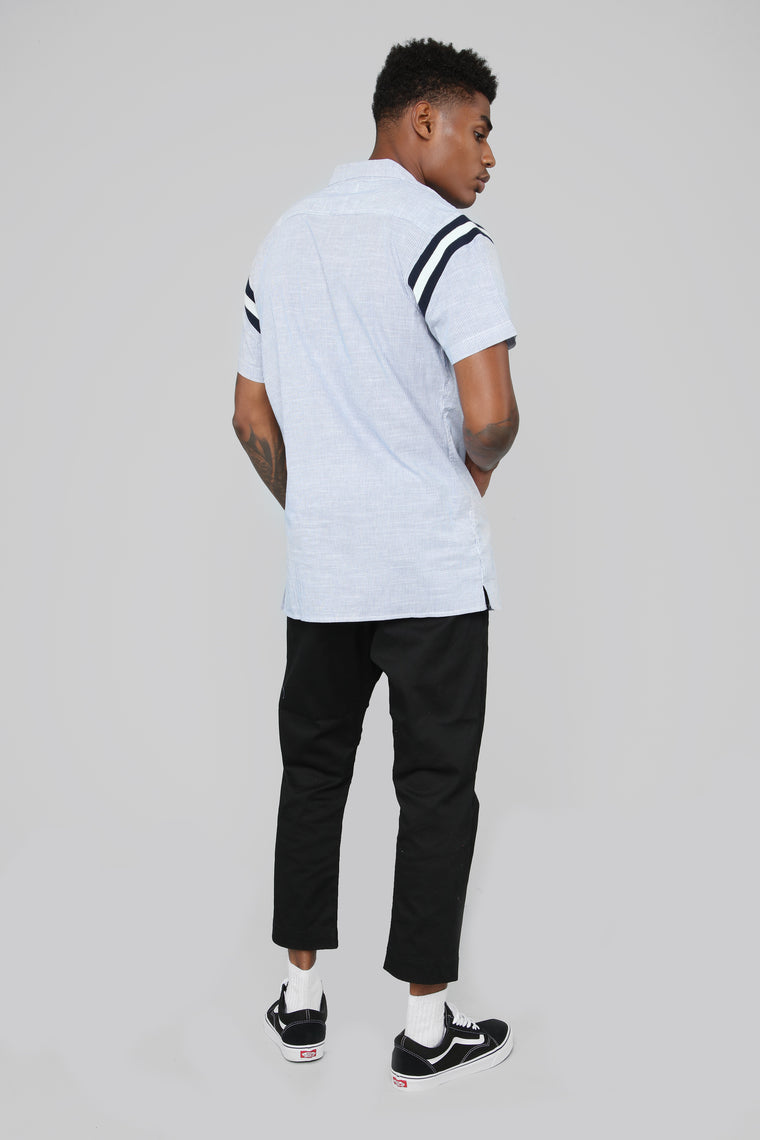 Adam Short Sleeve Woven Top - Navy/White