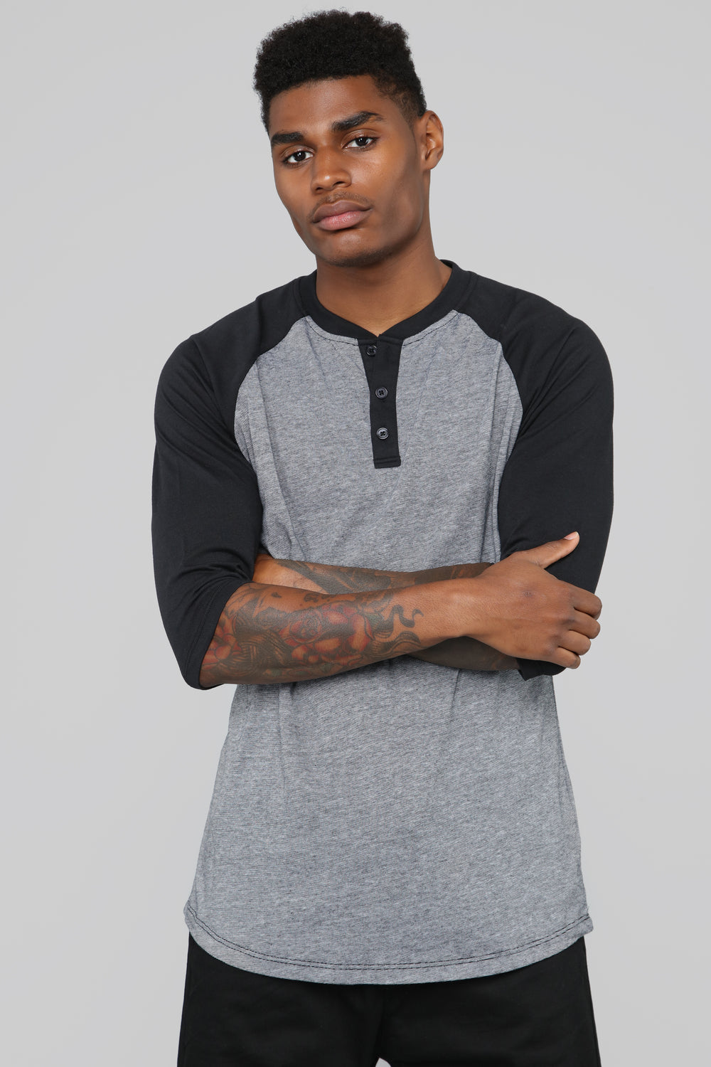 Baseball Henley Tee - Black/Grey