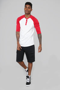Ralph 3/4 Sleeve Baseball Tee - Red Angle 2