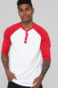 Ralph 3/4 Sleeve Baseball Tee - Red Angle 1
