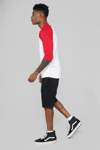 Ralph 3/4 Sleeve Baseball Tee - Red Angle 4