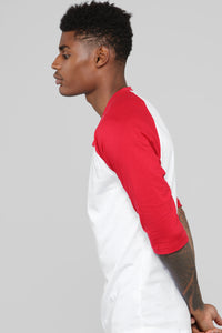 Ralph 3/4 Sleeve Baseball Tee - Red Angle 3