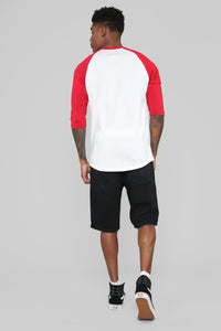 Ralph 3/4 Sleeve Baseball Tee - Red Angle 6