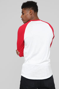 Ralph 3/4 Sleeve Baseball Tee - Red Angle 5