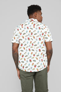 Junk Food Short Sleeve Woven Top - White