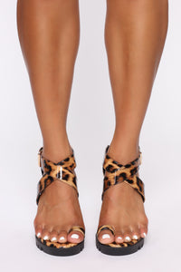 Breaking Ground Heeled Sandals - Leopard Angle 3
