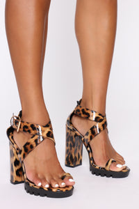 Breaking Ground Heeled Sandals - Leopard Angle 1