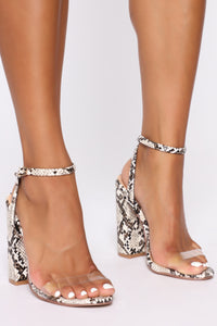 Love You Differently Heeled Sandals - Snake Angle 3