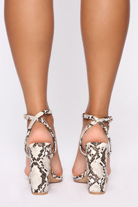 Love You Differently Heeled Sandals - Snake Angle 4