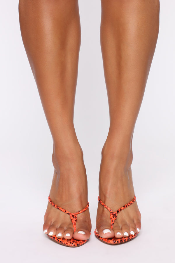 e43780a08 Calling You Out Heeled Sandals - Neon Orange