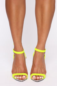 Oh Come On Now Heeled Sandals - Neon Yellow Angle 3