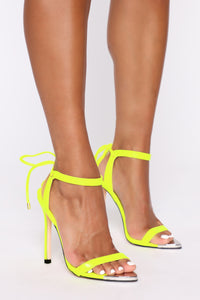 Oh Come On Now Heeled Sandals - Neon Yellow Angle 1