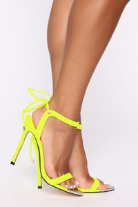 Oh Come On Now Heeled Sandals - Neon Yellow Angle 2