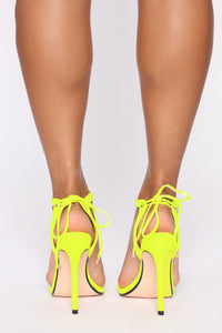 Oh Come On Now Heeled Sandals - Neon Yellow Angle 4