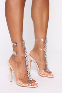 Glamour Up Heeled Sandals - Nude