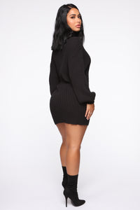Too Cozy Turtle Neck Sweater Dress - Black