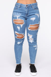 Claire Distressed Skinny Jeans - Medium Blue Wash Angle 2
