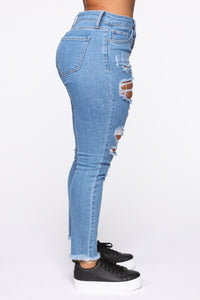Claire Distressed Skinny Jeans - Medium Blue Wash Angle 3